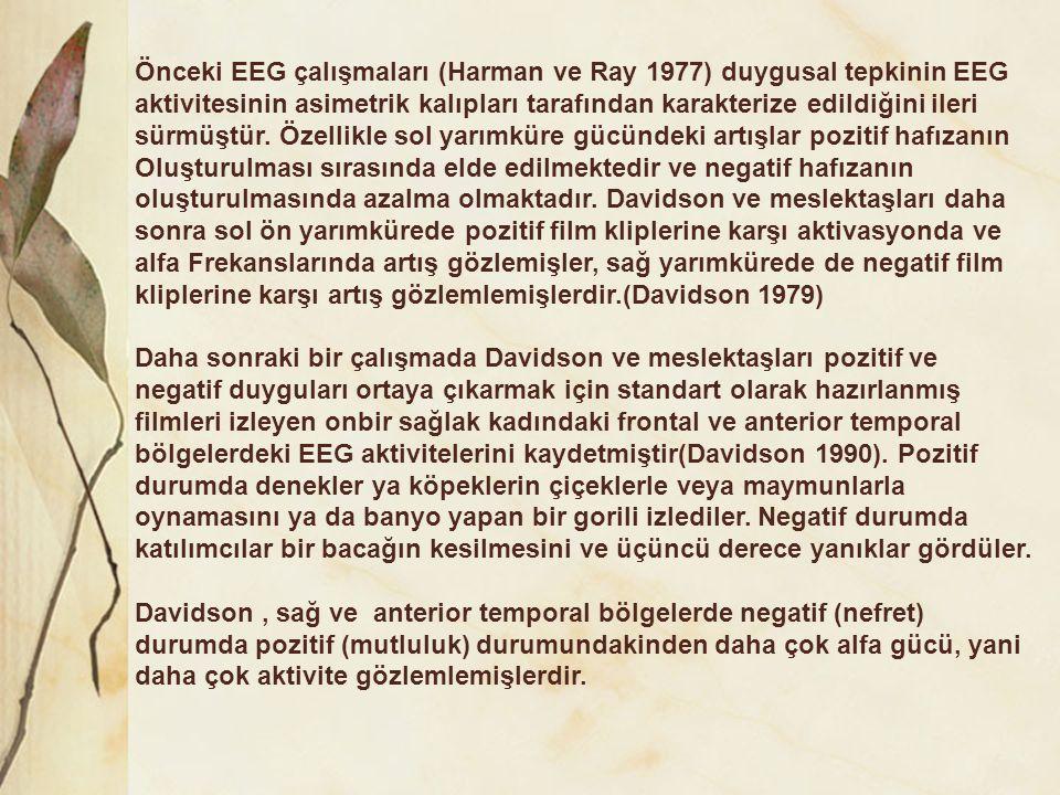 Önceki EEG çalışmaları (Harman ve Ray 1977) duygusal tepkinin EEG