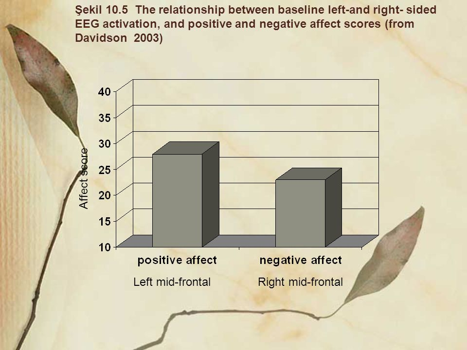 Şekil 10.5 The relationship between baseline left-and right- sided EEG activation, and positive and negative affect scores (from Davidson 2003)