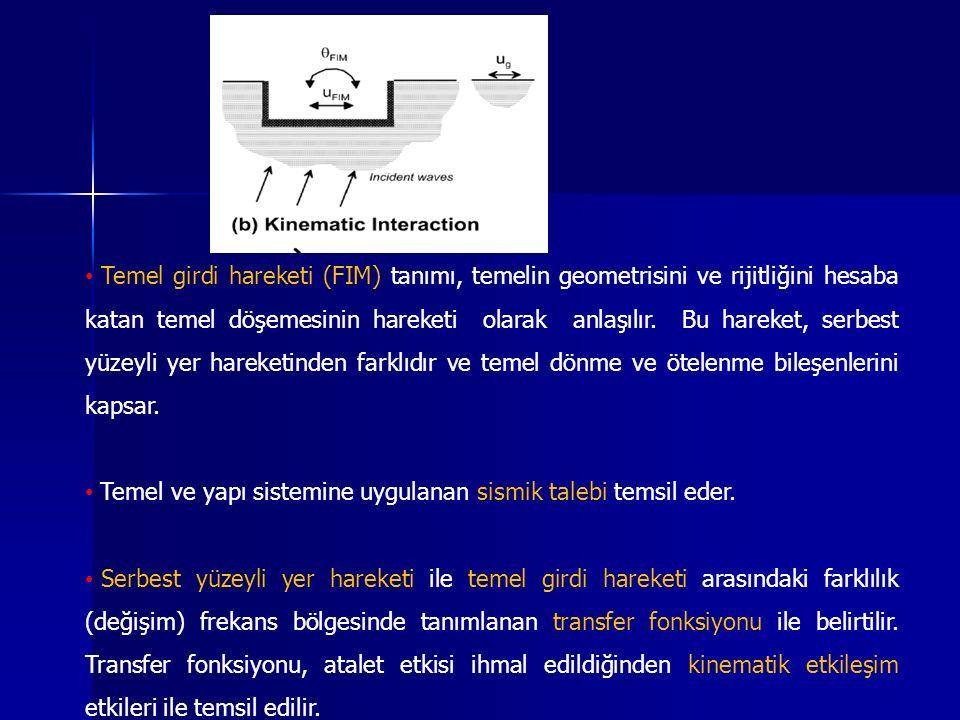 Temel girdi hareketi (FIM) tanımı, temelin geometrisini ve rijitliğini hesaba katan temel döşemesinin hareketi olarak anlaşılır. Bu hareket, serbest yüzeyli yer hareketinden farklıdır ve temel dönme ve ötelenme bileşenlerini kapsar.