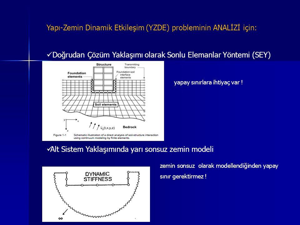 Yapı-Zemin Dinamik Etkileşim (YZDE) probleminin ANALİZİ için: