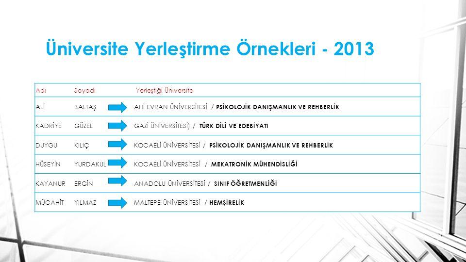 Üniversite Yerleştirme Örnekleri - 2013