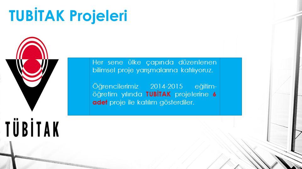 TUBİTAK Projeleri Her sene ülke çapında düzenlenen bilimsel proje yarışmalarına katılıyoruz.