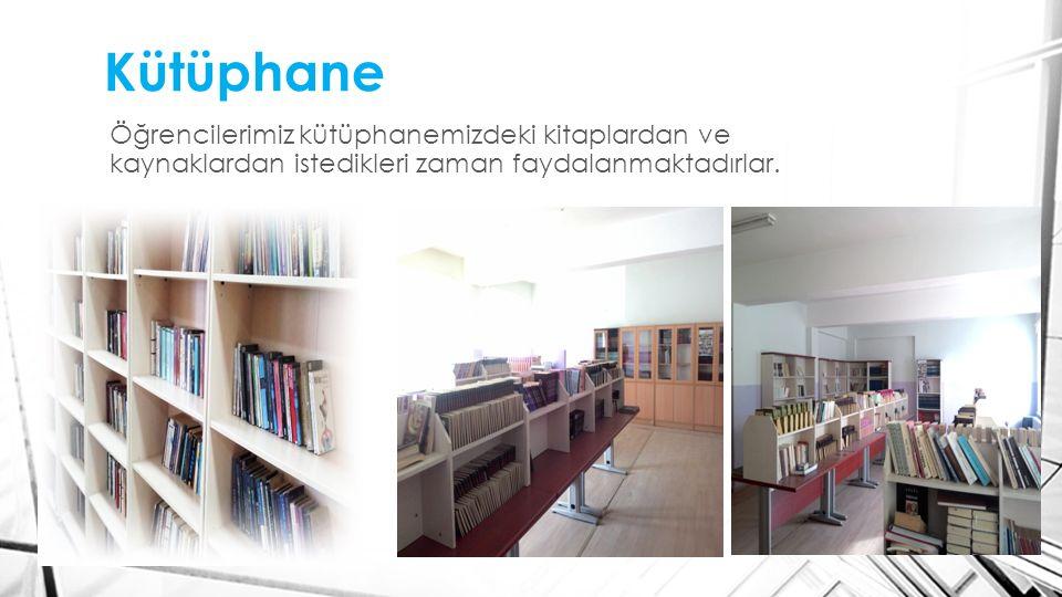 Kütüphane Öğrencilerimiz kütüphanemizdeki kitaplardan ve kaynaklardan istedikleri zaman faydalanmaktadırlar.