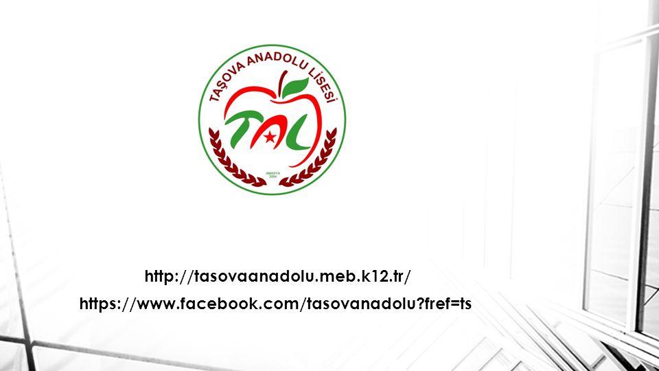 http://tasovaanadolu.meb.k12.tr/ https://www.facebook.com/tasovanadolu fref=ts
