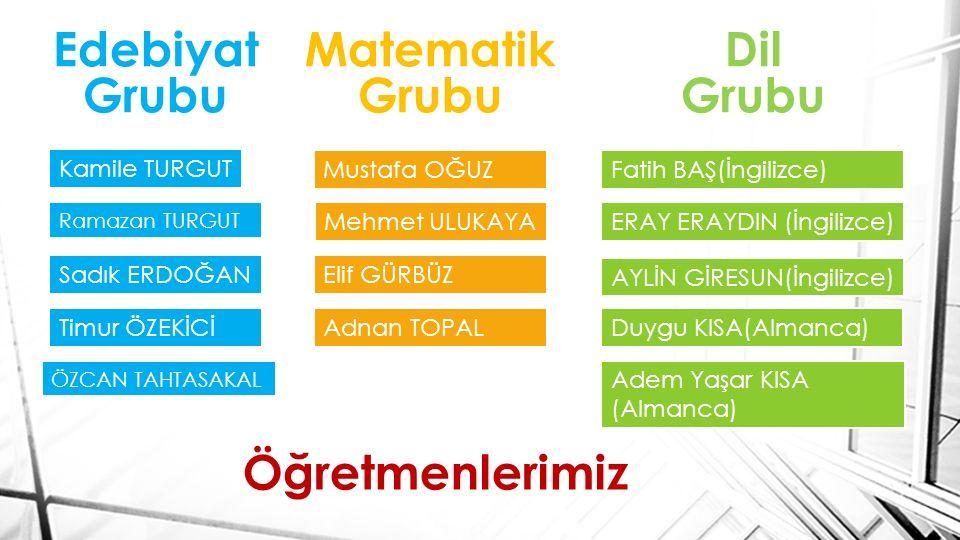 Edebiyat Grubu Matematik Grubu Dil Grubu Öğretmenlerimiz