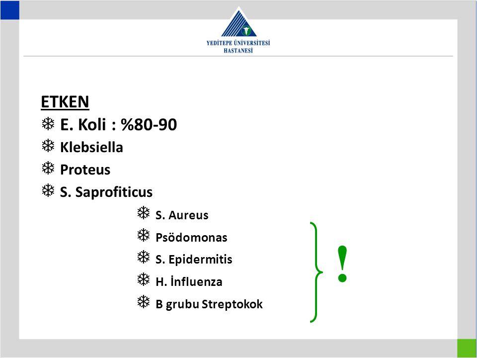 ! ETKEN  E. Koli : %80-90  Klebsiella  Proteus  S. Saprofiticus