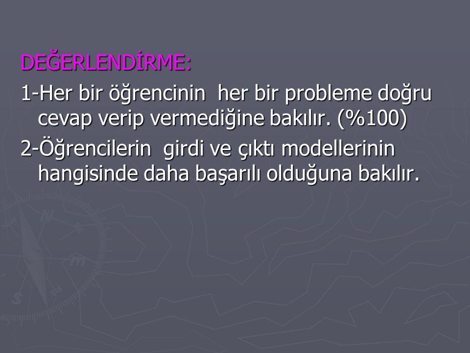 DEĞERLENDİRME: 1-Her bir öğrencinin her bir probleme doğru cevap verip vermediğine bakılır. (%100)