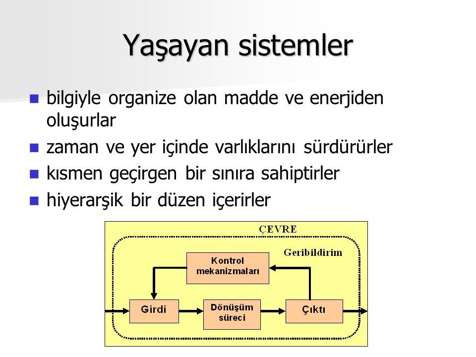 Yaşayan sistemler bilgiyle organize olan madde ve enerjiden oluşurlar