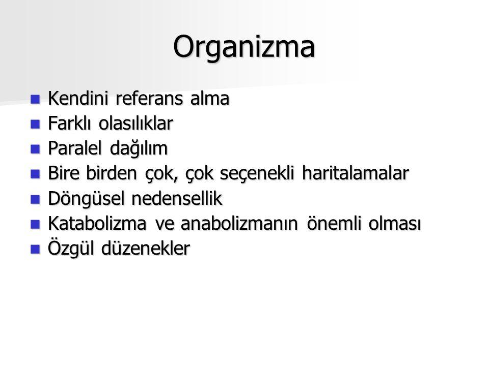 Organizma Kendini referans alma Farklı olasılıklar Paralel dağılım