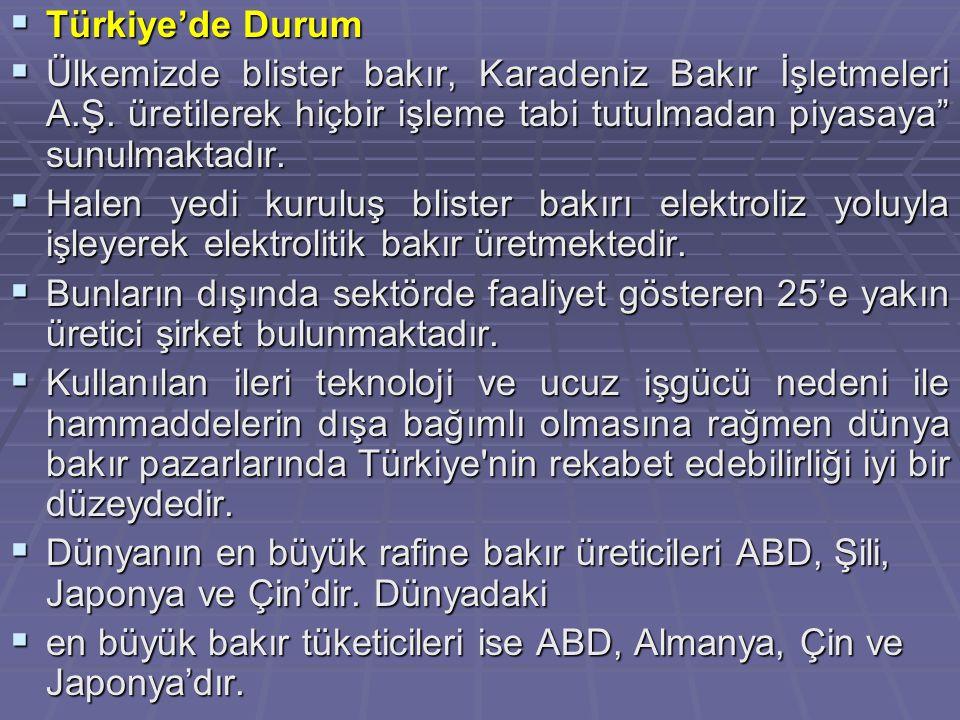 Türkiye'de Durum Ülkemizde blister bakır, Karadeniz Bakır İşletmeleri A.Ş. üretilerek hiçbir işleme tabi tutulmadan piyasaya sunulmaktadır.