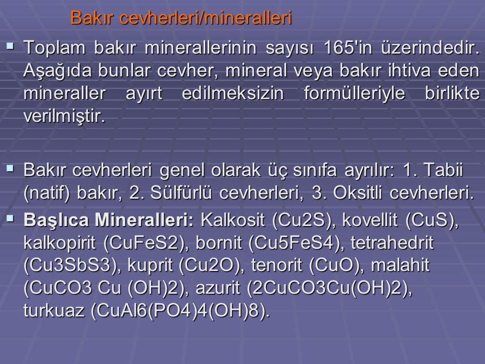 Bakır cevherleri/mineralleri