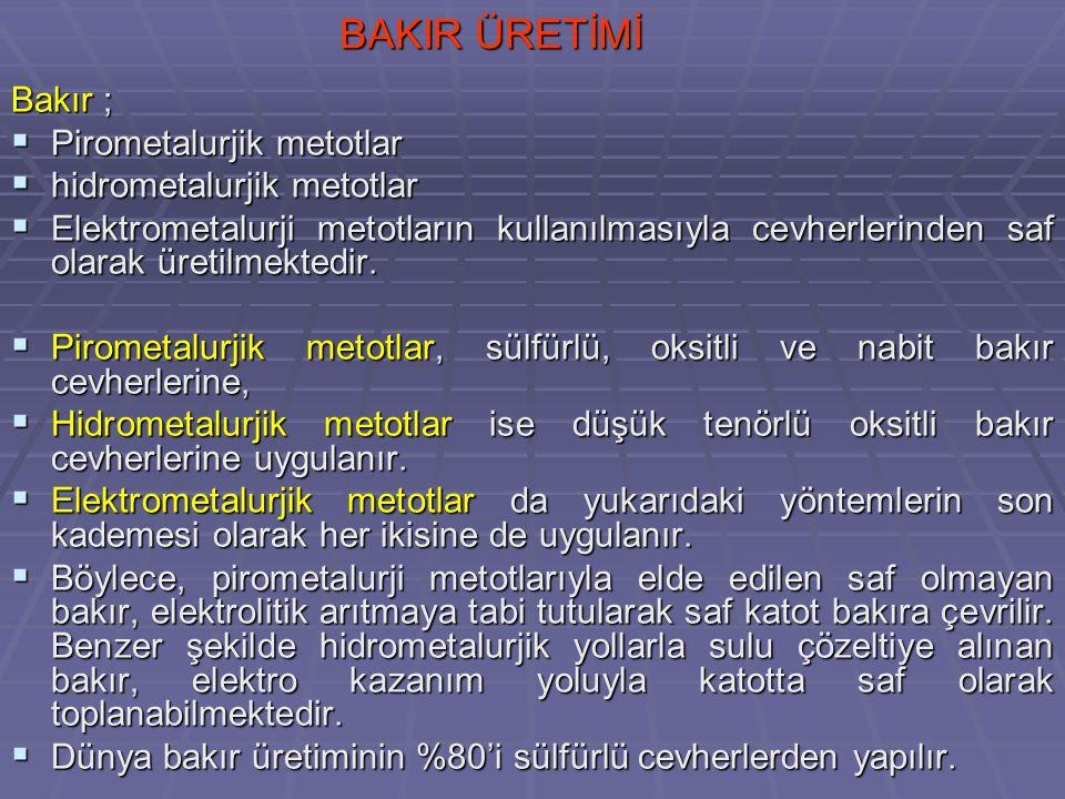 BAKIR ÜRETİMİ Bakır ; Pirometalurjik metotlar hidrometalurjik metotlar