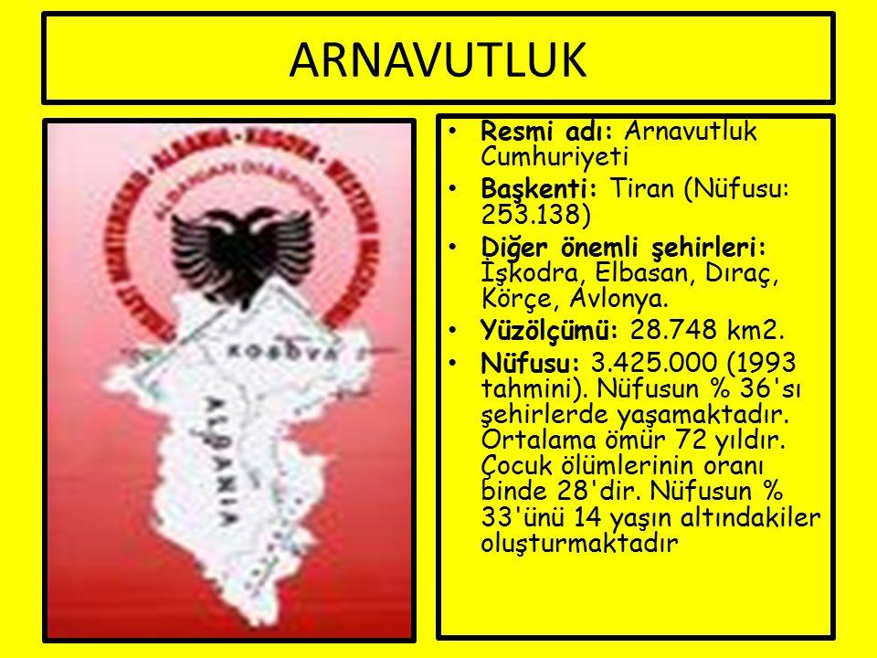 ARNAVUTLUK Resmi adı: Arnavutluk Cumhuriyeti