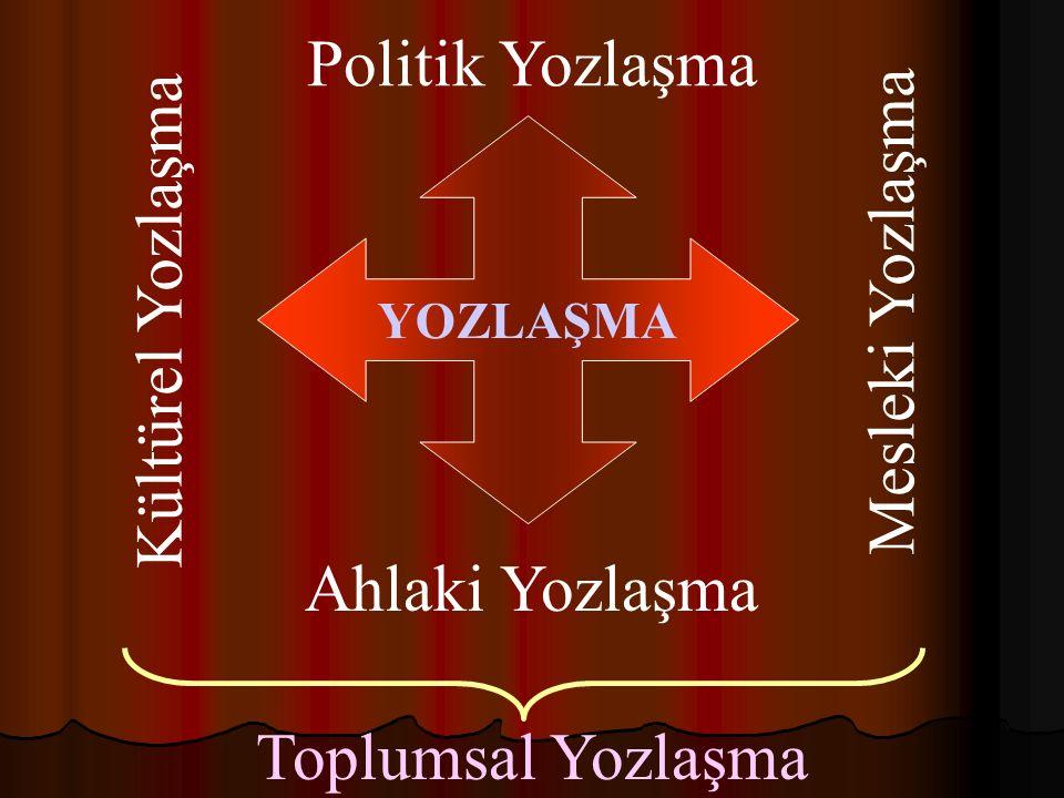 Politik Yozlaşma Mesleki Yozlaşma Kültürel Yozlaşma Ahlaki Yozlaşma