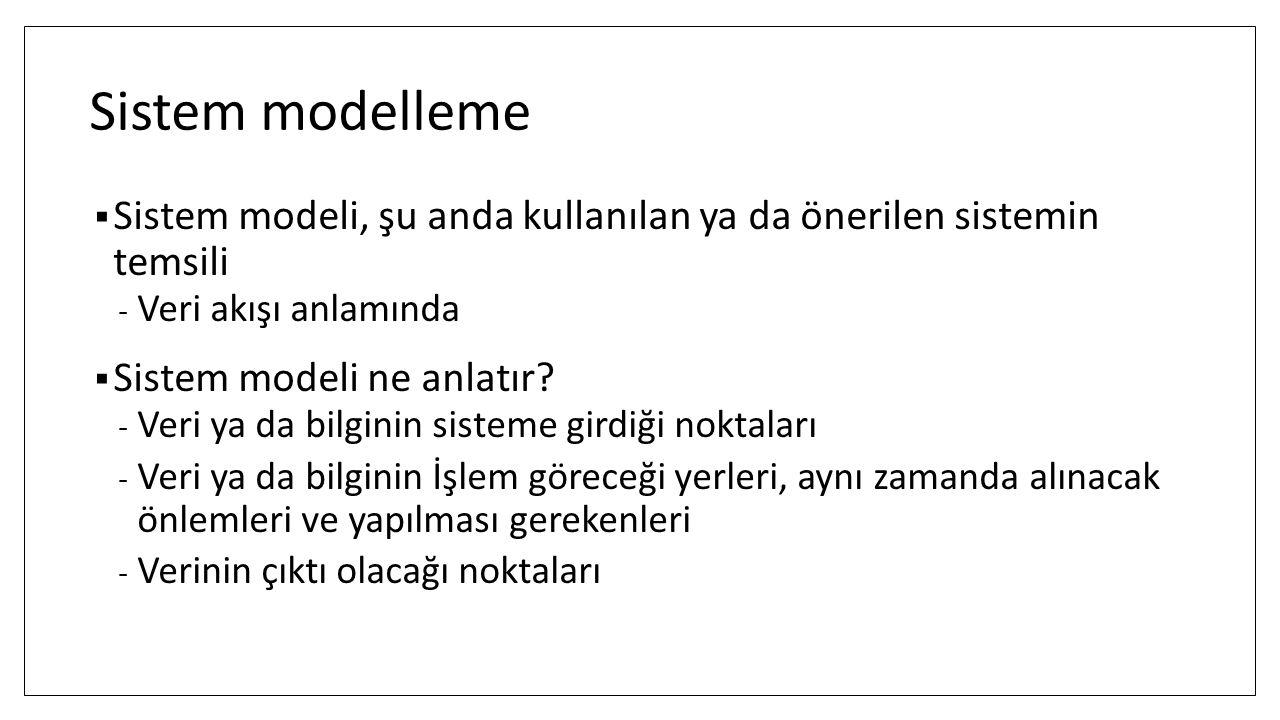 Sistem modelleme Sistem modeli, şu anda kullanılan ya da önerilen sistemin temsili. Veri akışı anlamında.