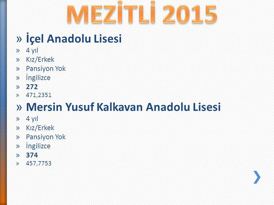 MEZİTLİ 2015 İçel Anadolu Lisesi Mersin Yusuf Kalkavan Anadolu Lisesi