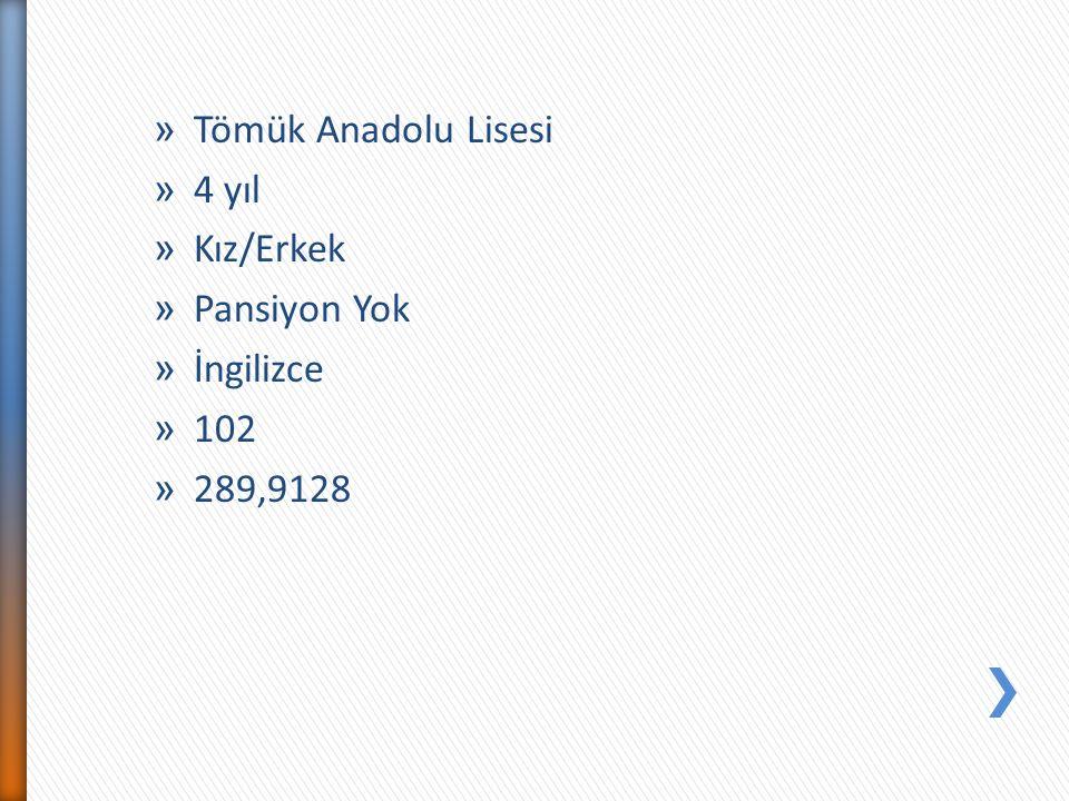 Tömük Anadolu Lisesi 4 yıl Kız/Erkek Pansiyon Yok İngilizce 102 289,9128