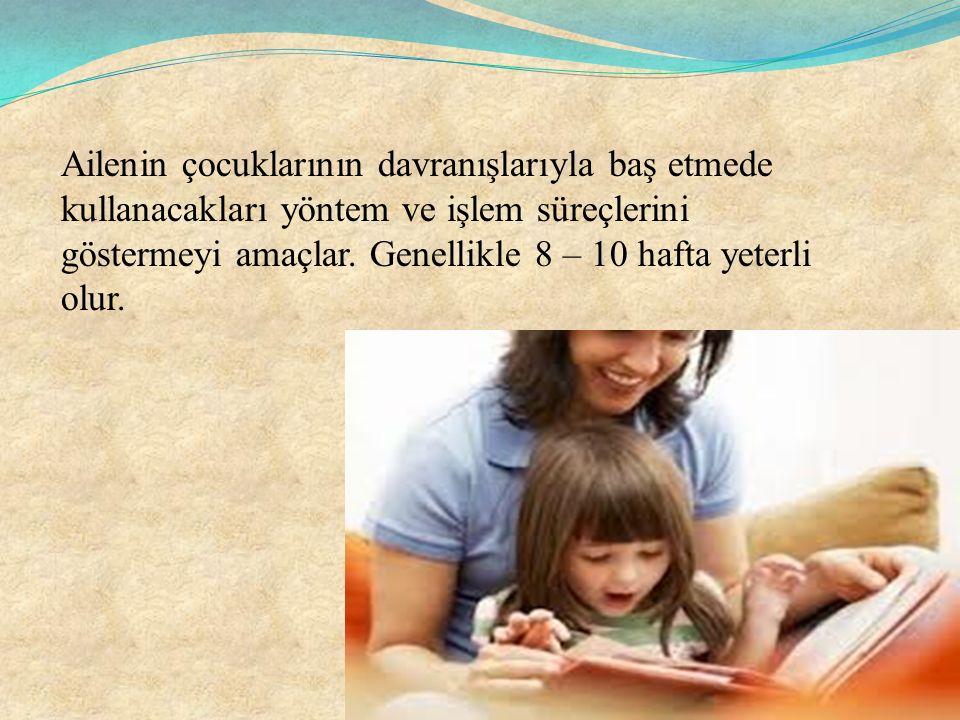 Ailenin çocuklarının davranışlarıyla baş etmede kullanacakları yöntem ve işlem süreçlerini göstermeyi amaçlar.