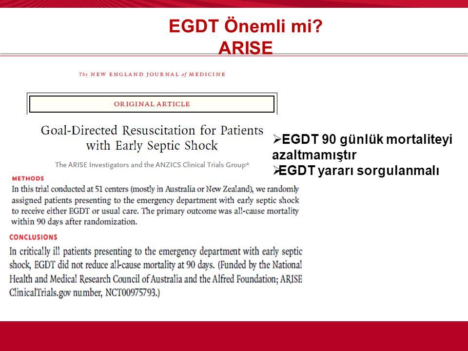 EGDT Önemli mi ARISE EGDT 90 günlük mortaliteyi azaltmamıştır