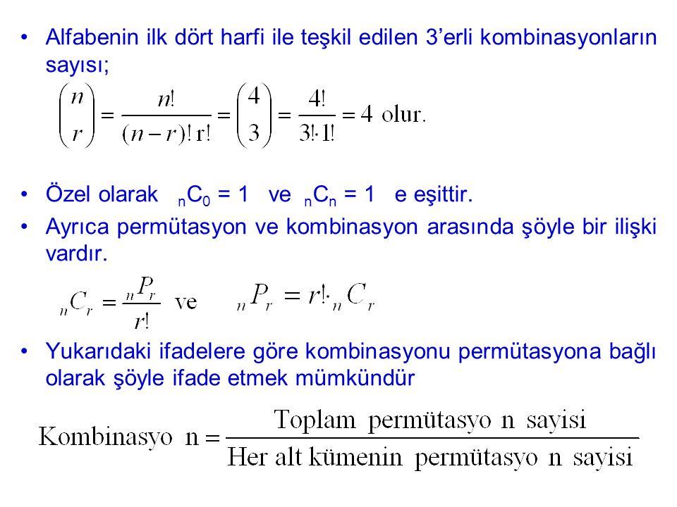 Alfabenin ilk dört harfi ile teşkil edilen 3'erli kombinasyonların sayısı;