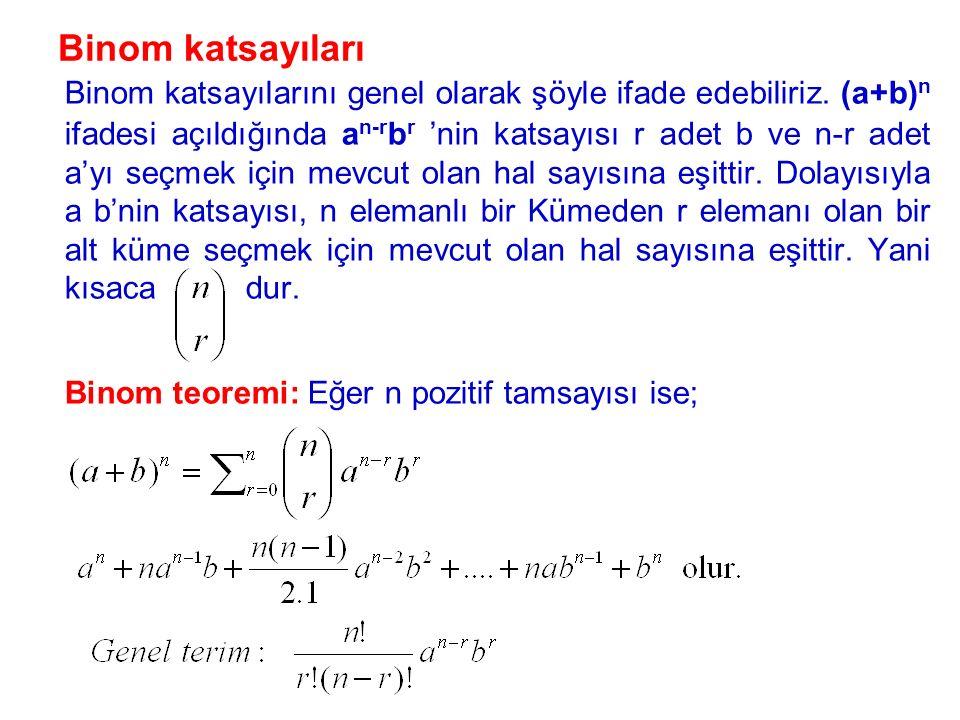 Binom teoremi: Eğer n pozitif tamsayısı ise;
