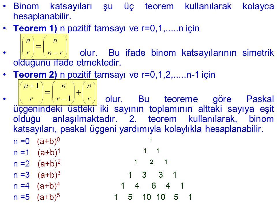 Binom katsayıları şu üç teorem kullanılarak kolayca hesaplanabilir.