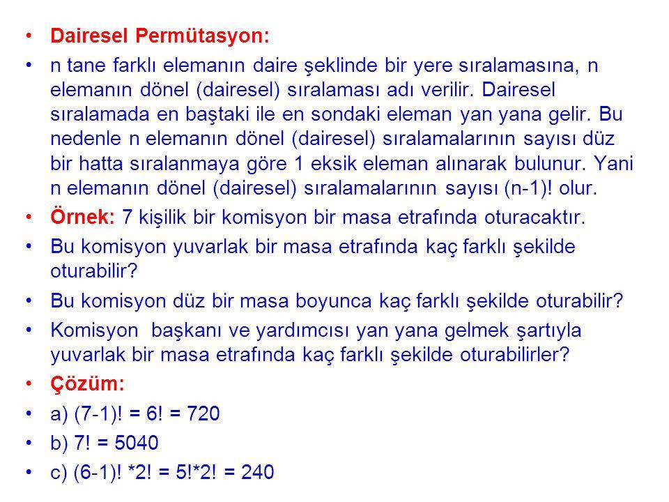 Dairesel Permütasyon: