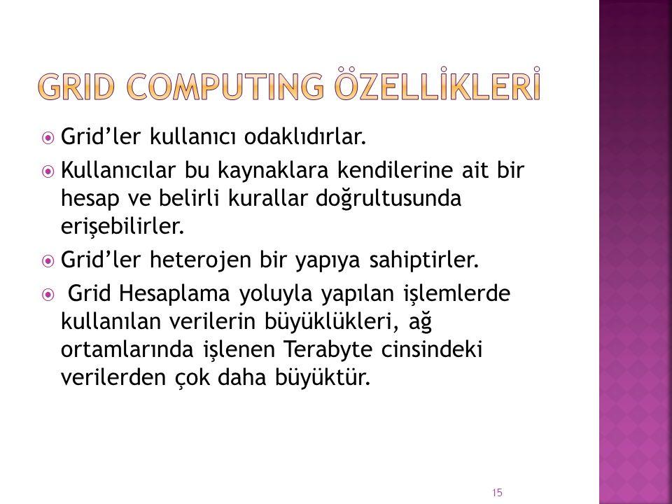GRID COMPUTING ÖZELLİKLERİ