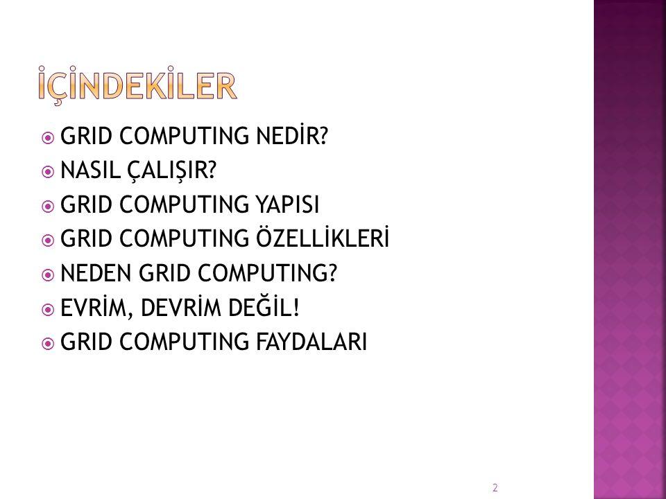 İÇİNDEKİLER GRID COMPUTING NEDİR NASIL ÇALIŞIR GRID COMPUTING YAPISI