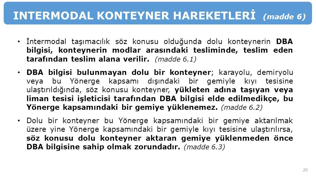 INTERMODAL KONTEYNER HAREKETLERİ (madde 6)