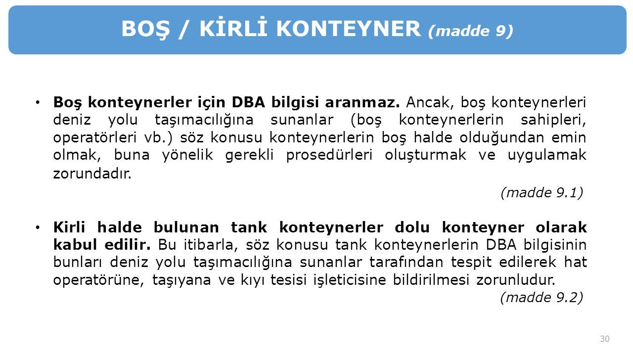 BOŞ / KİRLİ KONTEYNER (madde 9)
