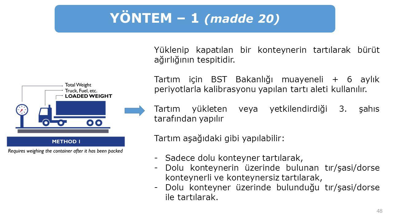YÖNTEM – 1 (madde 20) Yüklenip kapatılan bir konteynerin tartılarak bürüt ağırlığının tespitidir.