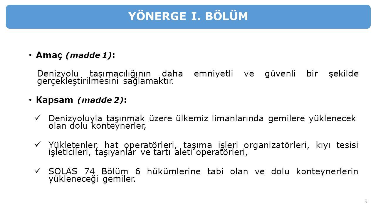 YÖNERGE I. BÖLÜM Amaç (madde 1):