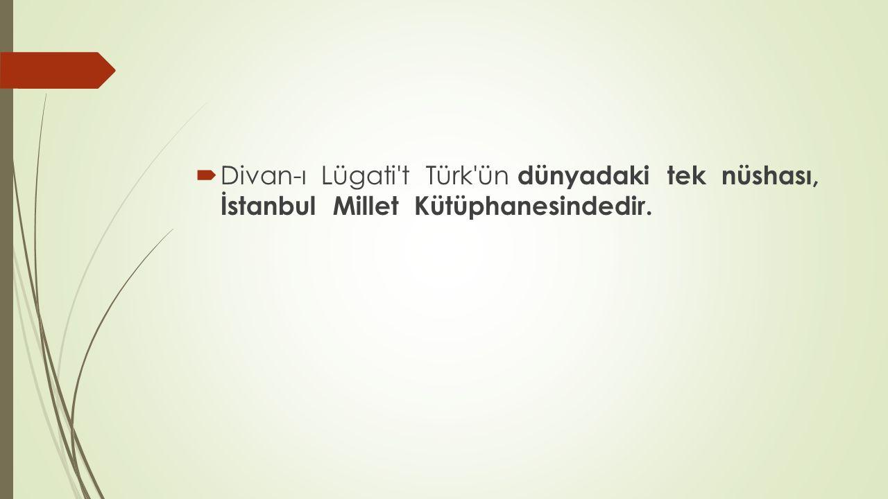 Divan-ı Lügati t Türk ün dünyadaki tek nüshası, İstanbul Millet Kütüphanesindedir.