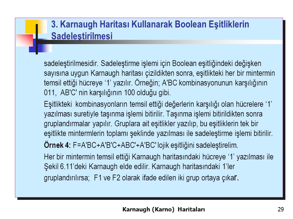 3. Karnaugh Haritası Kullanarak Boolean Eşitliklerin Sadeleştirilmesi