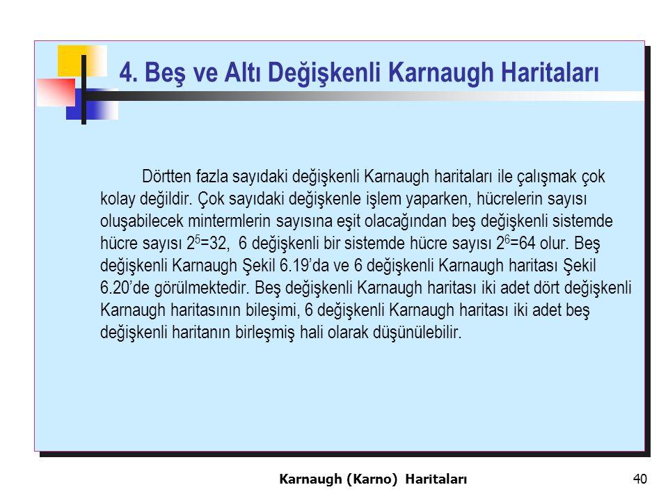 4. Beş ve Altı Değişkenli Karnaugh Haritaları