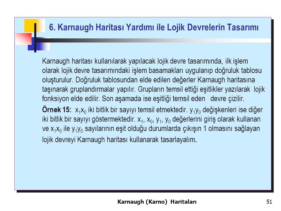 6. Karnaugh Haritası Yardımı ile Lojik Devrelerin Tasarımı