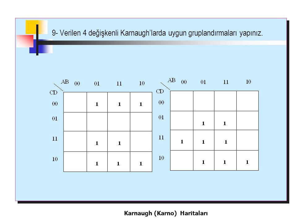 9- Verilen 4 değişkenli Karnaugh'larda uygun gruplandırmaları yapınız.