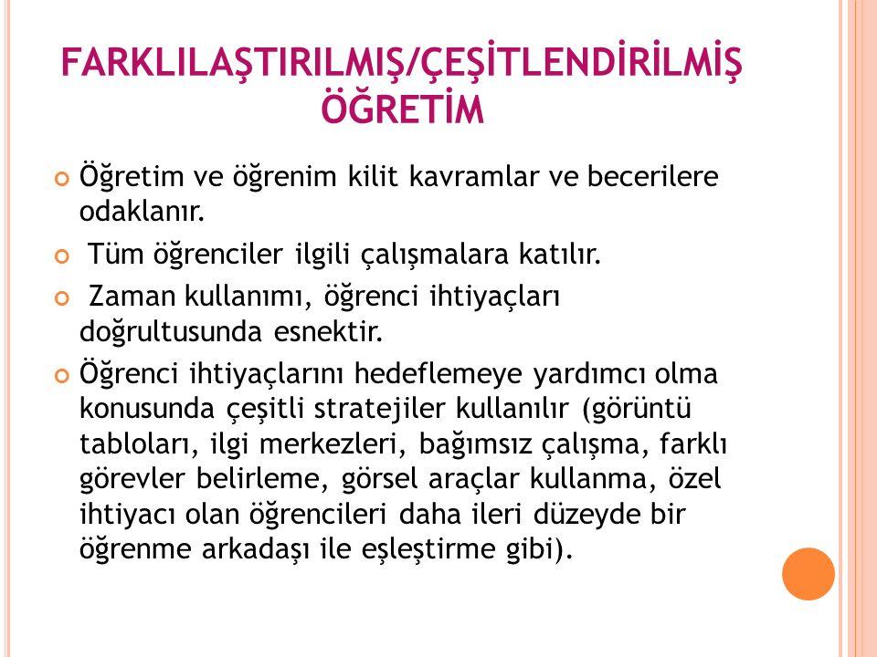 FARKLILAŞTIRILMIŞ/ÇEŞİTLENDİRİLMİŞ ÖĞRETİM