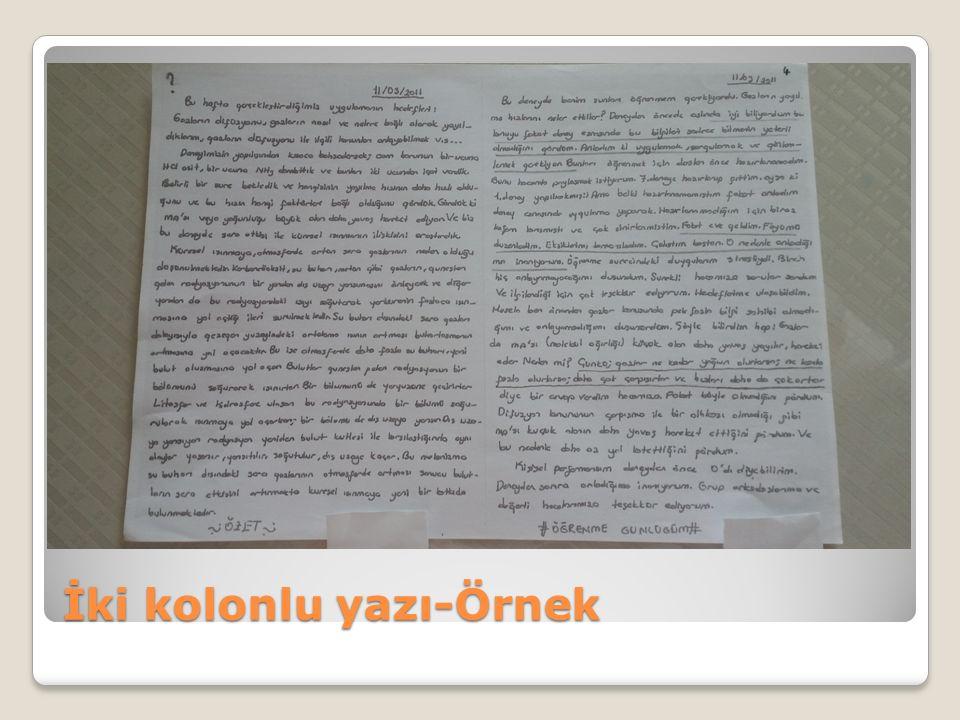 İki kolonlu yazı-Örnek