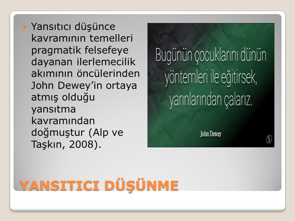 Yansıtıcı düşünce kavramının temelleri pragmatik felsefeye dayanan ilerlemecilik akımının öncülerinden John Dewey'in ortaya atmış olduğu yansıtma kavramından doğmuştur (Alp ve Taşkın, 2008).
