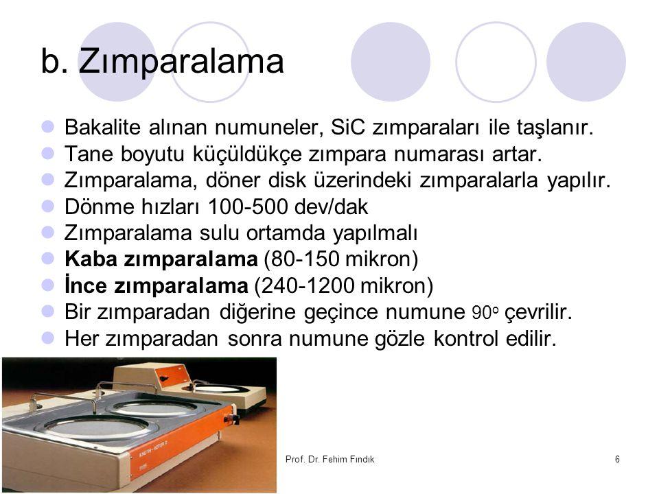 b. Zımparalama Bakalite alınan numuneler, SiC zımparaları ile taşlanır. Tane boyutu küçüldükçe zımpara numarası artar.
