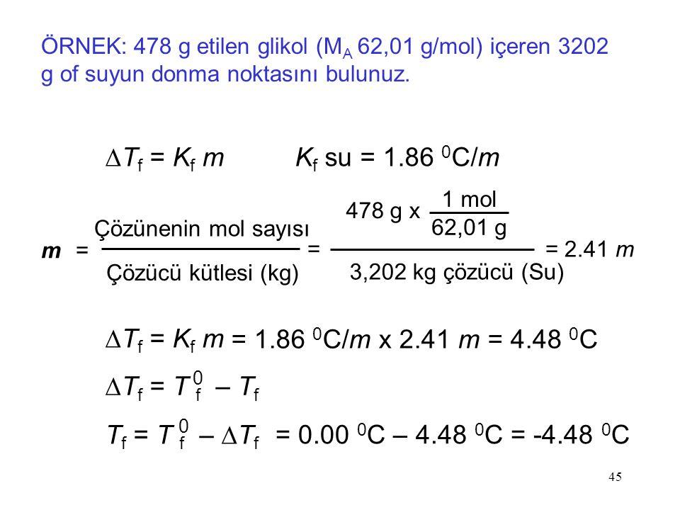 DTf = Kf m Kf su = 1.86 0C/m DTf = Kf m = 1.86 0C/m x 2.41 m = 4.48 0C