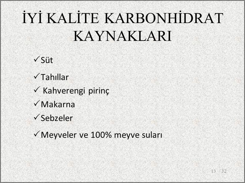 İYİ KALİTE KARBONHİDRAT KAYNAKLARI