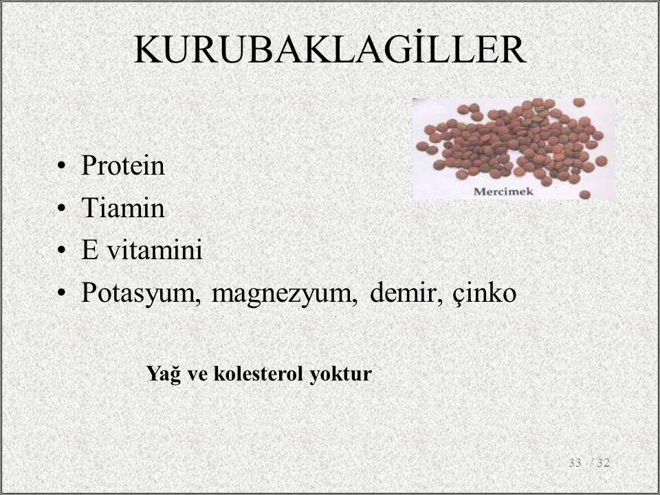 KURUBAKLAGİLLER Protein Tiamin E vitamini