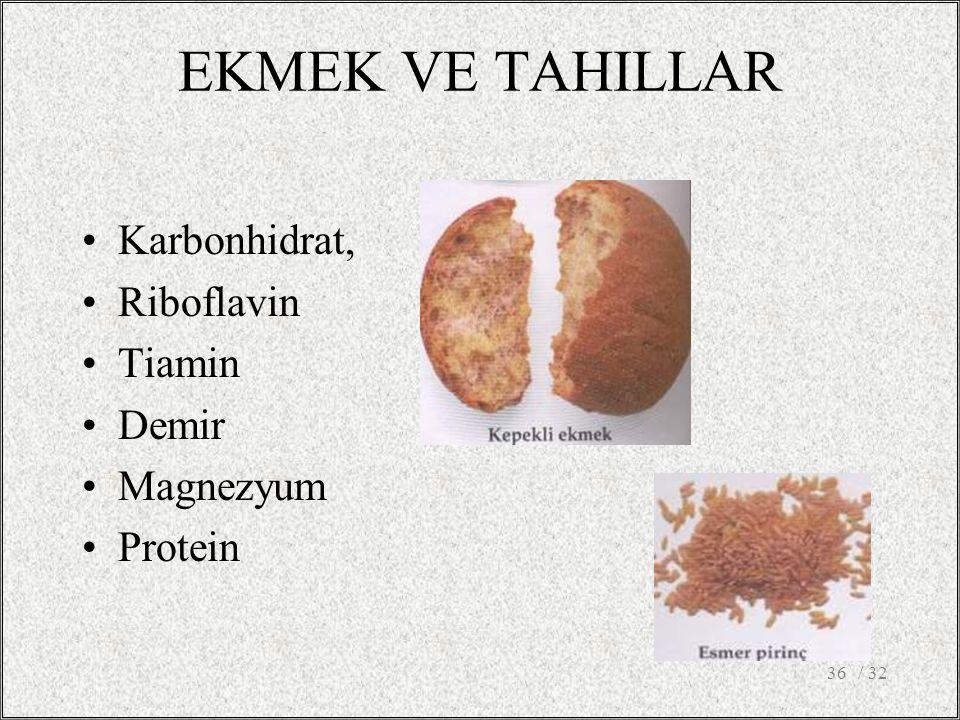 EKMEK VE TAHILLAR Karbonhidrat, Riboflavin Tiamin Demir Magnezyum