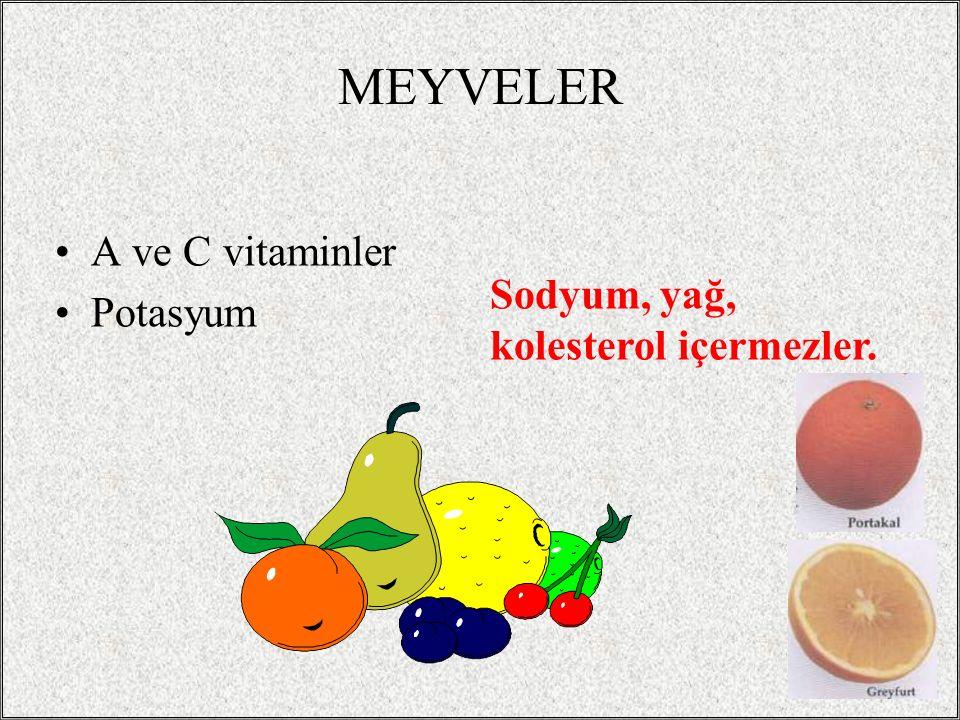 MEYVELER A ve C vitaminler Potasyum