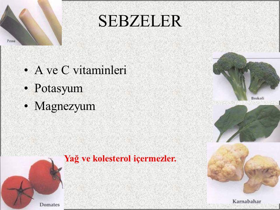 SEBZELER A ve C vitaminleri Potasyum Magnezyum
