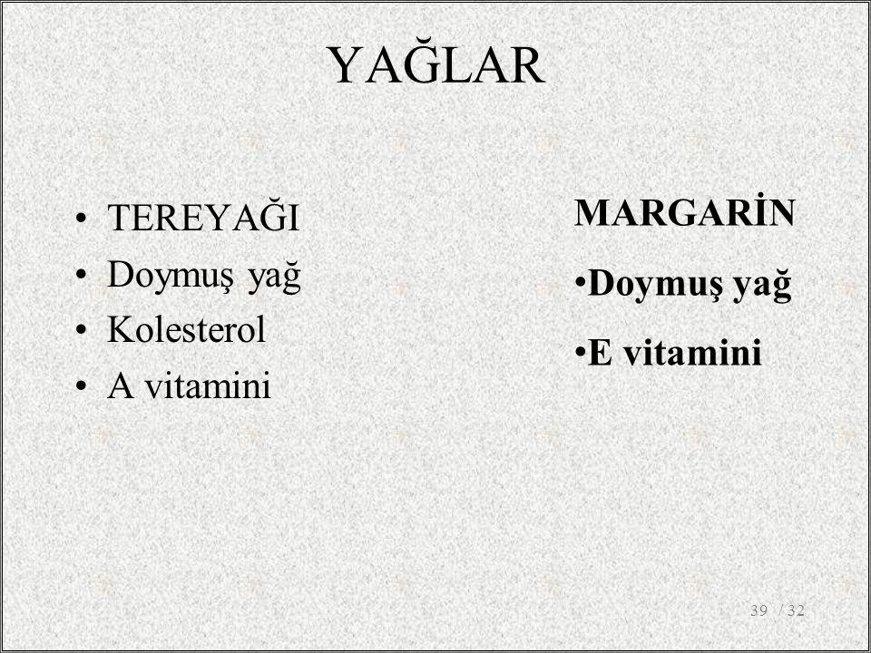 YAĞLAR MARGARİN TEREYAĞI Doymuş yağ Doymuş yağ Kolesterol E vitamini