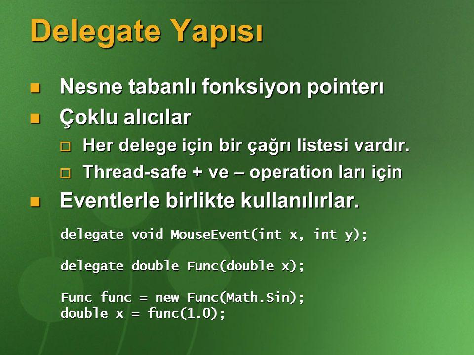 Delegate Yapısı Nesne tabanlı fonksiyon pointerı Çoklu alıcılar
